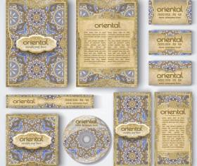 Oriental styles corporate identity kit vector 05