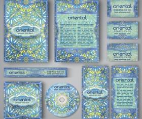 Oriental styles corporate identity kit vector 08