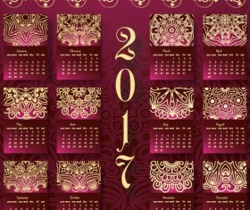 Ornate pattern with 2017 calendar template vector