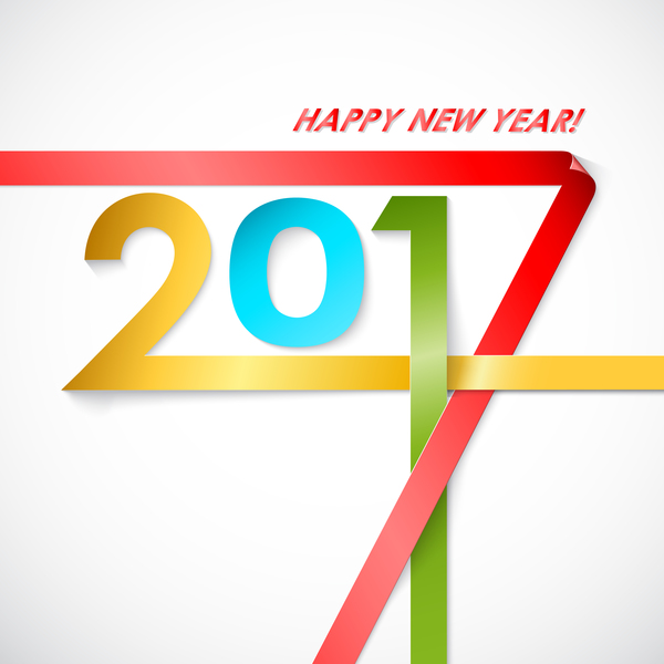 Paper folped 2017 new year background vector