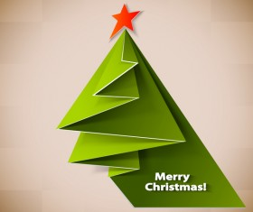 Paper folped christmas tree vectors 01