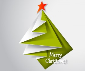 Paper folped christmas tree vectors 02