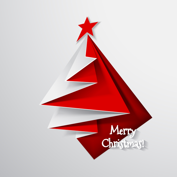 Paper folped christmas tree vectors 04