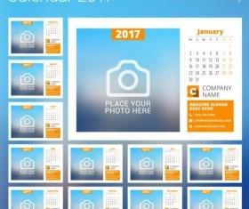 Photo disk calendar 2017 vector set 09