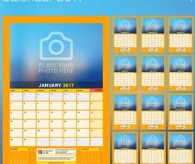 Photo disk calendar 2017 vector set 10