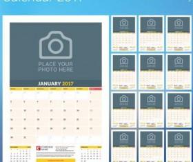Photo disk calendar 2017 vector set 12
