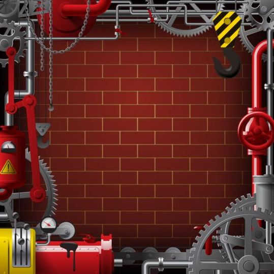Pipes with Industrial frame vector material 03