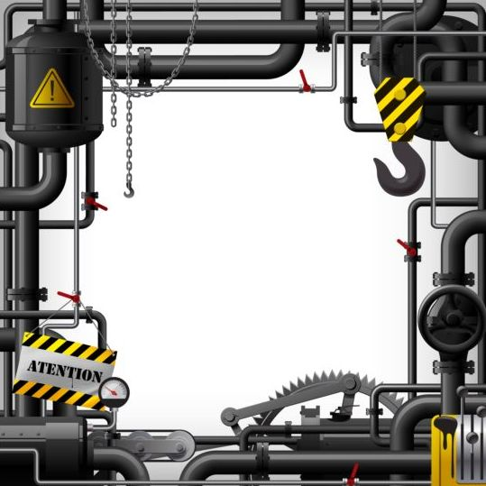 Pipes with Industrial frame vector material 04