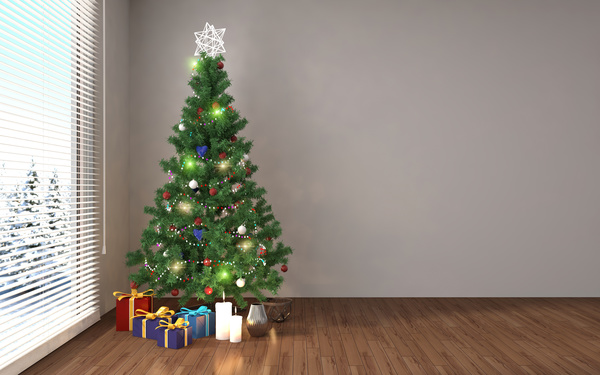 Place the Christmas tree in the corner and present the HD picture
