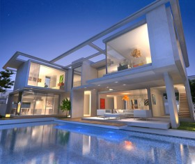 Project of a luxury villa in 3d 01 Stock Photo