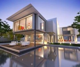 Project of a luxury villa in 3d 02 Stock Photo