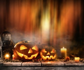 Pumpkin on old wooden table flame background Stock Photo 04