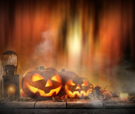 Pumpkin on old wooden table flame background Stock Photo 05