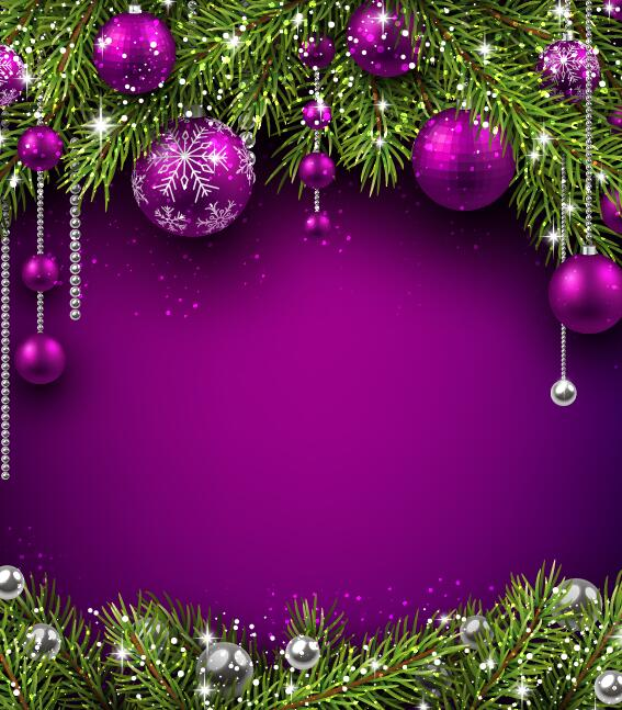 purple christmas ball with purple background vector free download