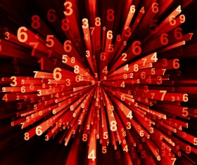 Red Computing Moving Digits Stock Photo