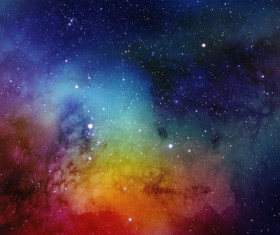 Red and Cyan Yellow Space Watercolor Backgrounds