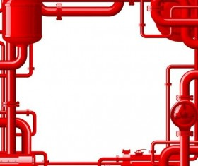Red pipes frame vector material