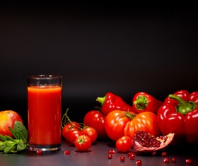 Red vegetables with red vegetable juice