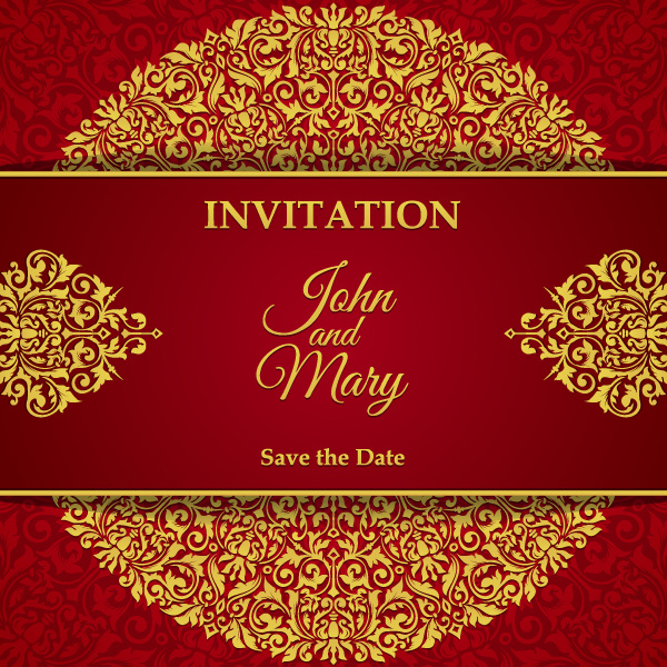 Red with golden invitation template vector 05 vector card free red with golden invitation template vector 05 stopboris Image collections