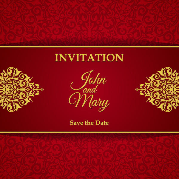 red with golden invitation template vector 08 free download