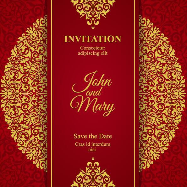 Red with golden invitation template vector 09 free download red with golden invitation template vector 09 stopboris Choice Image