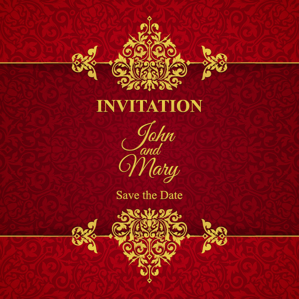 red with golden invitation template vector 21 free download