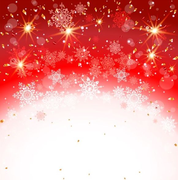 White Christmas Snow Background.Red With White Christmas Background And Snow Vector Free