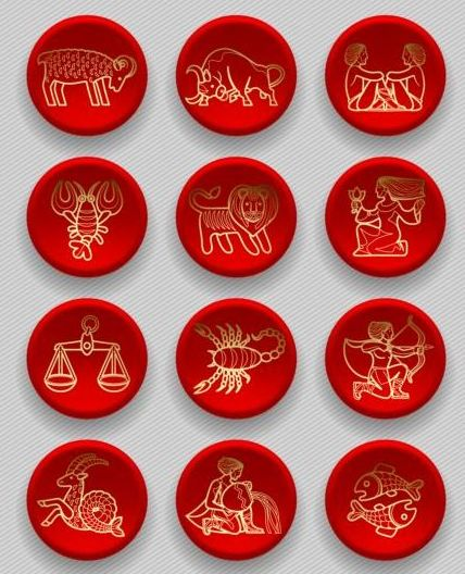 Red zodiac icons vector material
