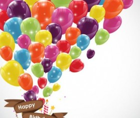 Ribbon birthday banner with colorful balloons vector 01
