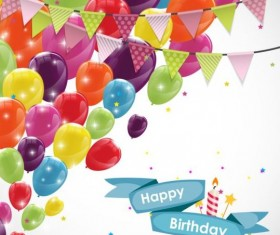 Ribbon birthday banner with colorful balloons vector 04