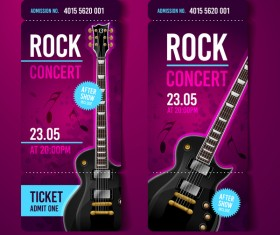 Rock concert tickets template vector 01