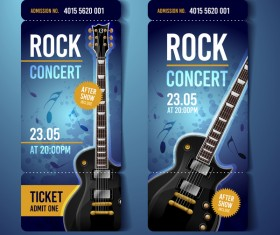 Rock concert tickets template vector 03