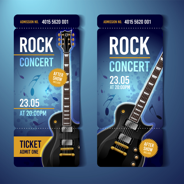 Rock Concert Tickets Template Vector   Vector Music Free Download