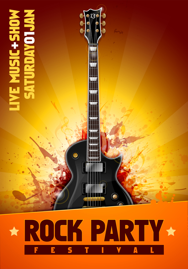 rock festival party poster with guitar vector 06