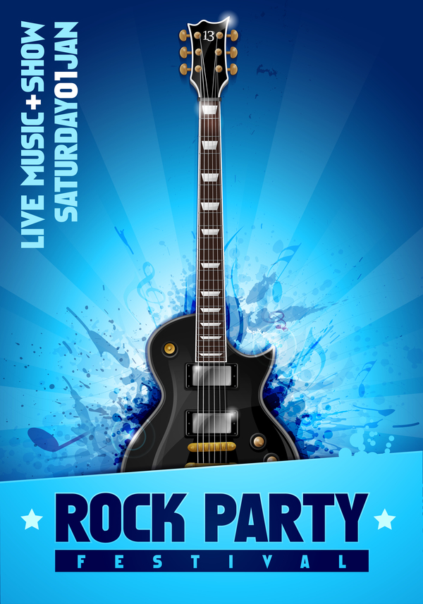 rock festival party poster with guitar vector 13