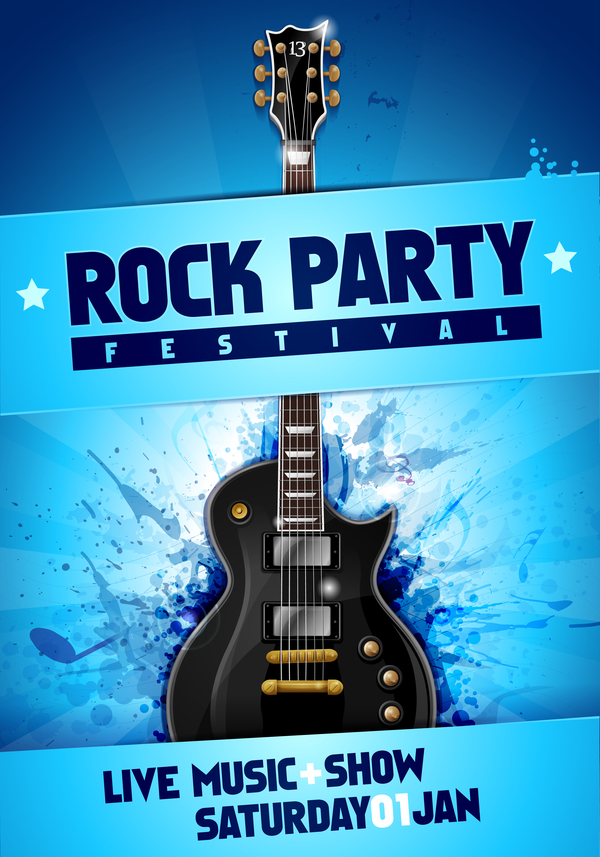 Rock Festival Party Poster With Guitar Vector 14