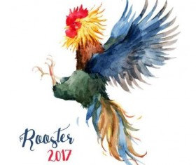 Rooster colored watercolor vector