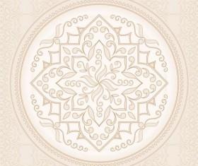 Round light beige pattern Mandala vector