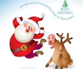 Santa claus with funny deer vectors