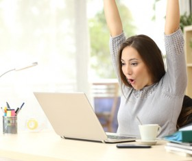 See the results exclaimed young beautiful woman Stock Photo