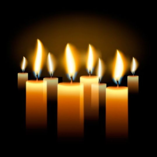Shining candle with black background vector 01 - Vector ...