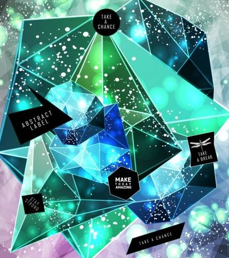 Shining diamond with polygon abstract background vector 05