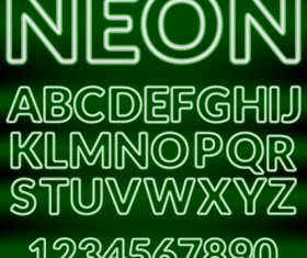 Shiny green neon alphabet and number vector