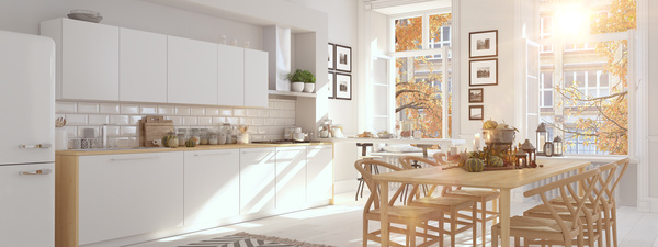 Simple white kitchen with panoramic views Stock Photo