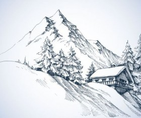Snow mountains winter Landscape hand drawn vector 01