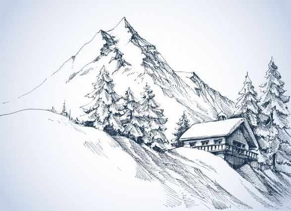 Snow mountains winter Landscape hand drawn vector 01 ...