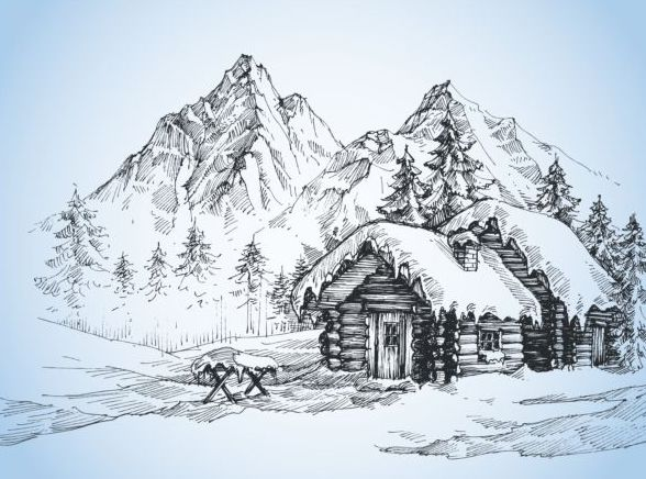 Snow mountains winter Landscape hand drawn vector 03 ...