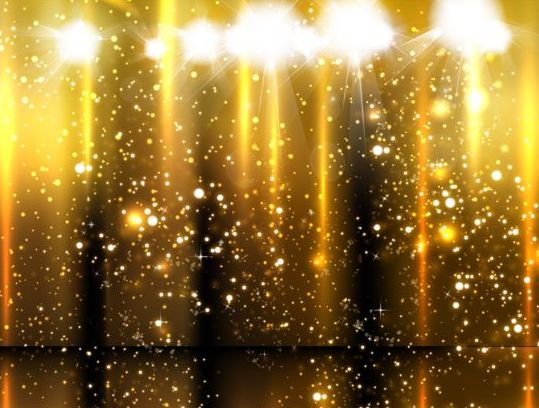 Spotlight with golden glow background vector