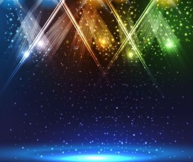 Spotlights on stage with blue background vector