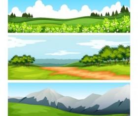 Spring festival natural landscape banners vector